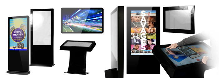 Diferentes tipos de dispositivos para mostrar contenidos en zonas comerciales o de venta.