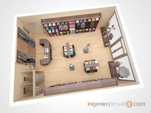 Infografías 3D para proyecto de tienda de moda para hombre