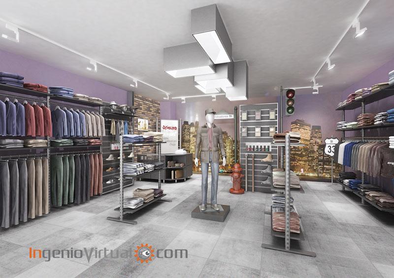 Infografía 3D de tienda de moda casual para hombre - Vista interior