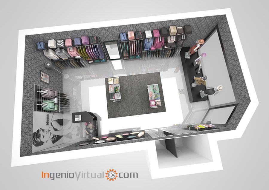 Infografía 3D para tienda de moda femenina - Vista aérea en corte