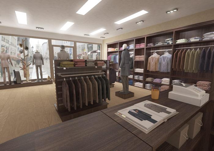 Infografia 3D tienda moda hombre vista mostrador 3