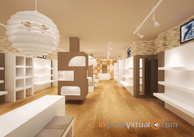 Infografía 3D para tienda de zapatos y complementos - Vista desde entrada