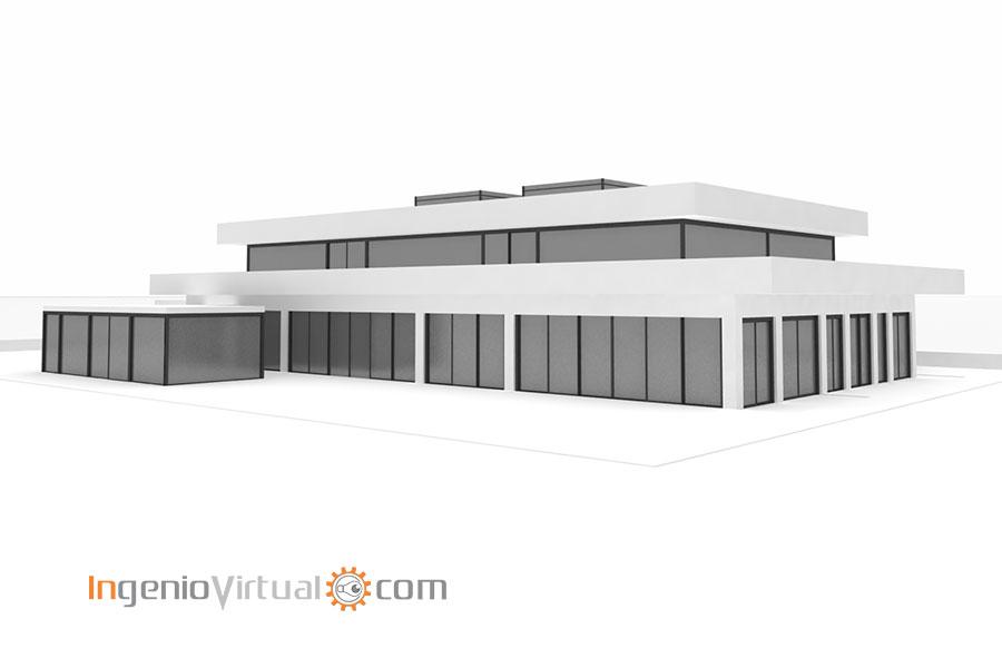 Volumetría 3D de vivienda unifamiliar moderna - Perspectiva 2
