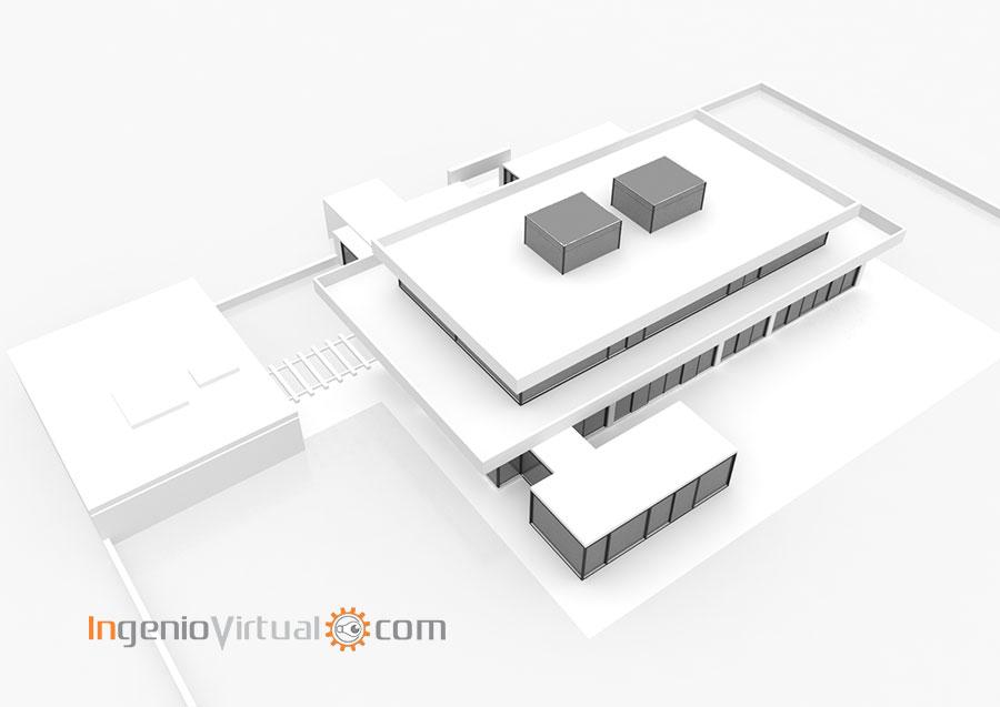 Volumetría 3D de vivienda unifamiliar moderna - Perspectiva 4